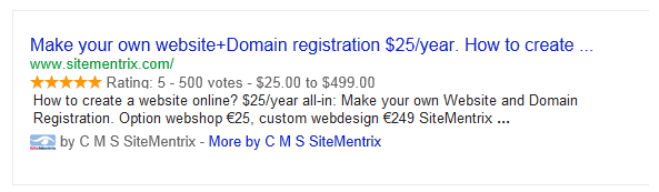 Rich Snippets van de SiteMentrix website in de zoekresultaten
