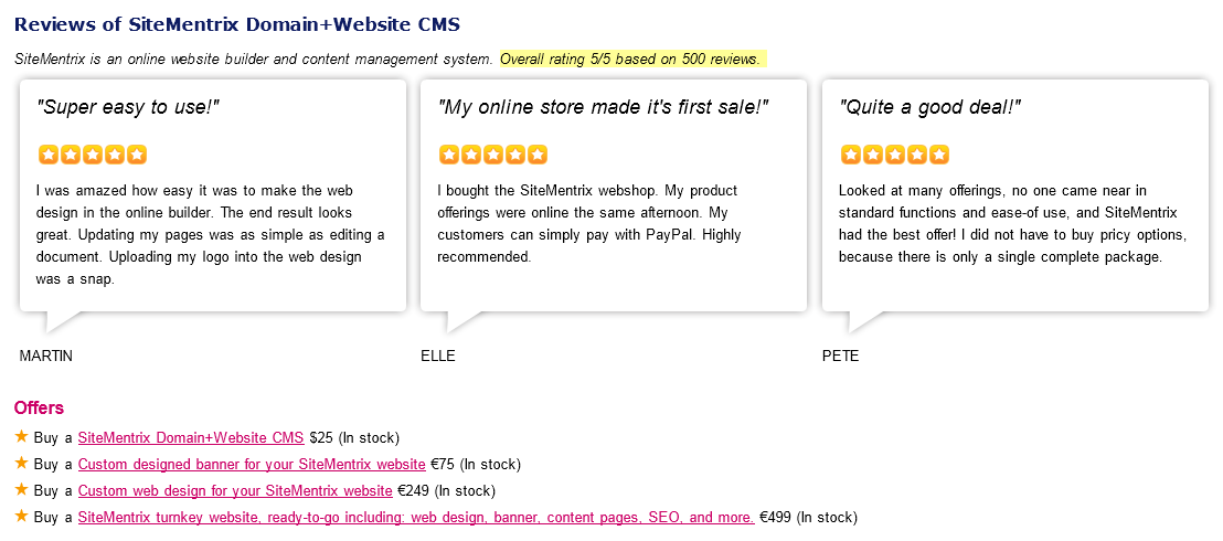 Rich Snippets in the website SiteMentrix